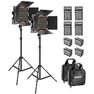 Neewer 2-Pack Dimmable Bicolore 660 Video Luce a LED con Barndoor e 6,5 Piedi Supporto di Luce 4 6600mAh Li-ione Batterie Caricatore d'illuminazione per Foto Studio YouTube Video Riprese(Rosso)