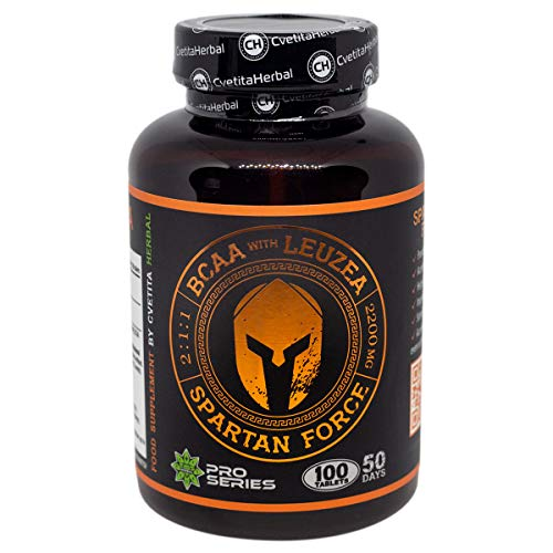Spartan Force | BCAA 2:1:1 | Leuzea Root Extract | 100 Tablets x 1100mg (50 Days Supply) | Stimulates Muscle Growth | Muscle Gain and Recovery | Testosteron Booster by Cvetita Herbal