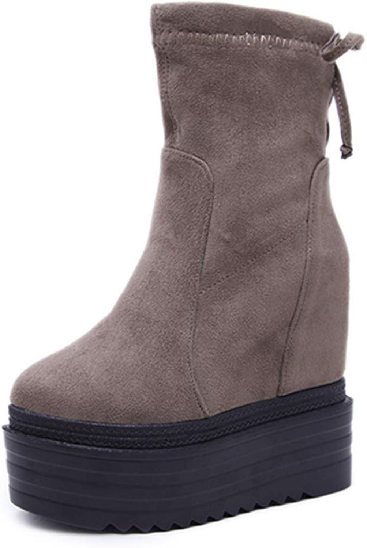 T-JULY Women Lacing Platform Heels Suede shoes Female Platform Wedges Boots Ladies Spring Fashion Black Autumn Ankle Boots