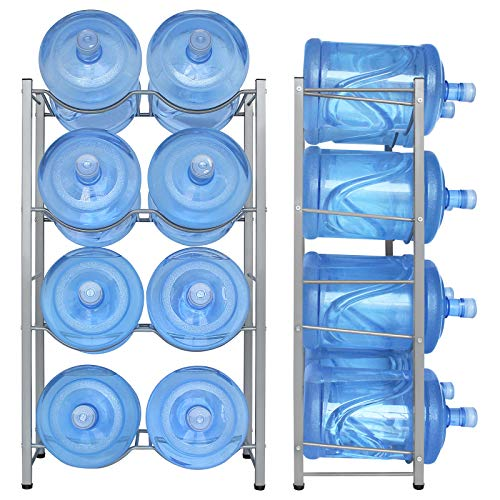 8-Tray Water Jug Rack Storage 5 Gallon Water Cooler Bottle Holder Stand 4-Tier Heavy Duty Carbon Steel 5 Gal Water Bottle Organizer for Home Office Kitchen Warehouse Dark Silver