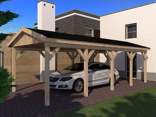 Carport Satteldach LE MANS II 350cm x 800cm KVH Bausatz Konstruktionsvollholz