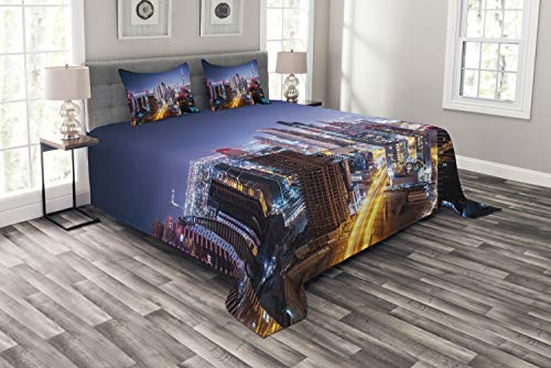 ABAKUHAUS Stadt Tagesdecke Set, Nacht Dubai Tourist Travel, Set mit Kissenbezügen Sommerdecke, für Doppelbetten 220 x 220 cm, Mehrfarbig