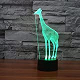 Giraffe 3D lamp 7 Colorful touchLED visual table lamps gift atmosphere table lamp Novelty Led Usb Kids 3d Led night light