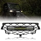 SAUTVS Mesh Grille with LED Light for Can-Am Defender, Front Bumper Grill with LED Light Bar for Can-Am Defender/Defender MAX HD5 HD8 HD10 2016-2021 Accessories (1PCS)