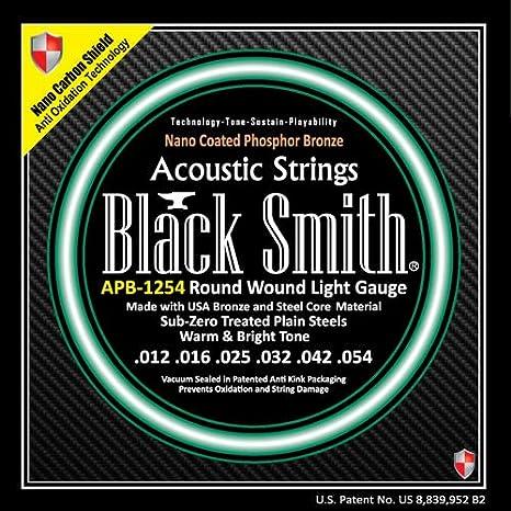 Blacksmith Pro cuerdas para guitarra acústica revestidas de fósforo bronce luz 12-54 Nano Shield