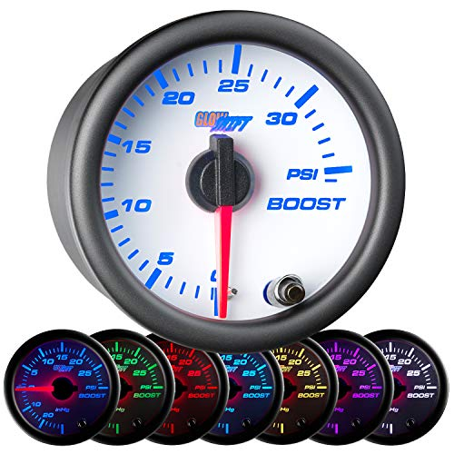 GlowShift White 7 Color 35 PSI Turbo Boost Gauge Kit - Includes Mechanical Hose & Fittings - White Dial - Clear Lens - for Car & Truck - 2-1/16' 52mm
