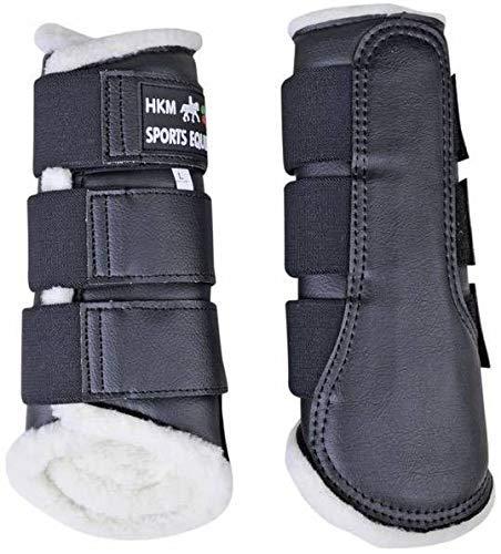 HKM 8585 - Ghette Comfort, Fodera in Pelle Sintetica, Anatomiche, Unisex, Equipaggiamento per Cavalli, 8585, Nero/Nero, L