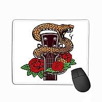 マウスパッドギターヘッド蛇バラデザイン要素ポスターカードバナーエンブレムギターヘッド蛇バラデザイン長方形ラバーマウスパッド