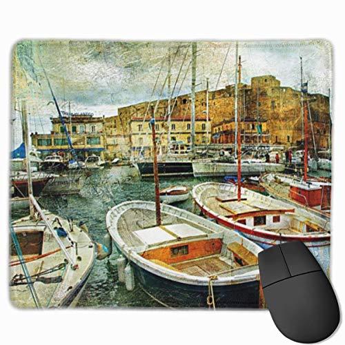 Niedliches Gaming-Mauspad, Schreibtisch-Mauspad, kleine Mauspads für Laptop-Computer, Mausmatte Marine Neapel Kleine Boote an der historischen italienischen Küste mit Heritage Castle Nautical Artwork