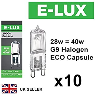 Customer reviews Pack of 10 x G9 28w=40w Branded 240V Dimmable 370 Lumen C Rated Safety Fused Eco Halogen Clear Bulbs Lamps Capsules
