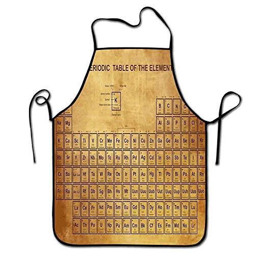 Not Applicable Barra de Delantal de Ciencia Elementos Tabla de química Diseño Antiguo Vintage para científicos Delantal de Estampado de Estudiante Arte Arena Marrón Marrón