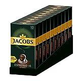 Jacobs Espresso Intenso - Nespresso® * Cápsulas de café de aluminio compatibles - 10 Paquetes de 10 cápsulas (100 bebidas)