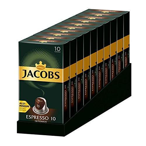 Jacobs Kapseln Espresso Intenso, Intensität 10,100 Nespresso®* kompatible Kaffeekapseln, 10er Pack, 10 x 10 Getränke