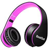 BestGot Wired Kids Headphones for Kids Boys Adult with Microphone in-line Volume Included Cloth Bag Foldable Headset with 3.5mm Plug Removable Cord (Black/Pink)