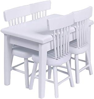 5 قطع 1:12 اثاث منزل دمى خشبي من تويفيان، نموذج طاولة طعام وكرسي صغير لاكسسوارات المنزل، منظر طبيعي مصغر، العاب للاطفال
