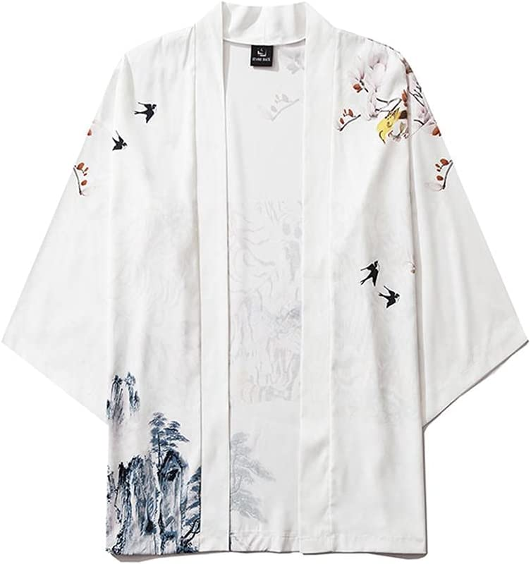 Men's Stylish Trend Loose Open Front 3/4 Sleeve Japanese Style Print Cover Up Cardigan