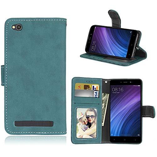 Sangrl Lederhülle Schutzhülle Für Xiaomi Redmi 4A, PU-Leder Klassisches Design Wallet Handyhülle, Mit Halterungsfunktion Kartenfächer Flip Hülle Blau