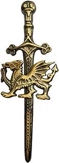 """Tartan City Broche Escocés para Kilt Espada Acabado Antiguo 4""""/Celta Dragón De Gales Alfiler para Falda Escocesa"""