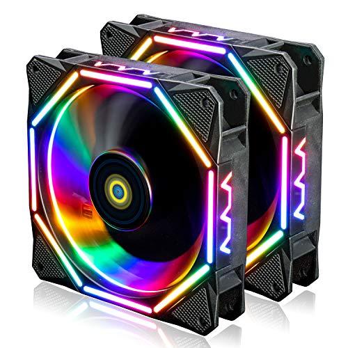 conisy Gehäuselüfter 120mm Quiet Edition PC Kühlung Lüfter mit RGB LED Licht für Computer Gehäuse (2 Stücke,Mehrfarbig)