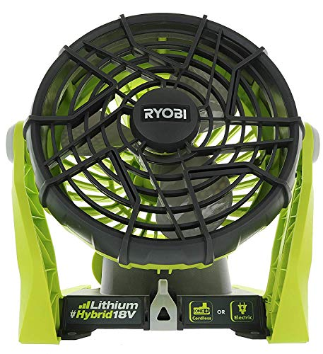 Ryobi P3320 18 Volt Hybrid One+ Battery or AC Powered Adjustable Indoor/Outdoor Shop Fan (Battery and Extension Cord Not Included/Fan Only)
