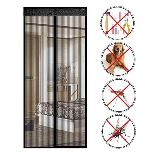 reinefleur magnética cortina de puerta anti insectos moscas mosquitos 90cmx210cm para puerta de entrada interior patio corrediza plateado Negro