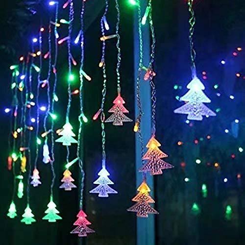 LOPSNNA Luz Cortina de Navidad, 8 Modos, 96 LEDS 3.5M Luz Cadena,LED Guirnaldas luminosas, Cadena De Luces, Perfecto para Decoración de Navidad, Festival,Fiestas, Casa,Jardín,Boda (Multicolor)
