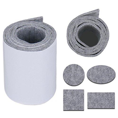 Heavy Duty Felt Strip Roll - DIY Zelfklevende Meubelpad, Vloerbeschermer, Vilten Stoel Pads, 39.37'' x 3.93'', Donker Grijs Lichtgrijs