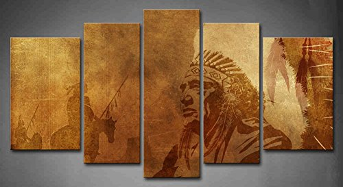 5 Panel Wall Art Brown Native American Chief Worriors On Horses Painting The Picture Print On Canvas People Pictures for Home Decor Decoration Gift Piece (Stretched by Wooden Frame,Ready to Hang)