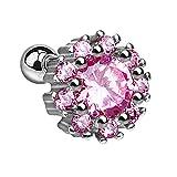Piersando Piercing para el cartílago Tragus Helix para la Oreja, de Acero quirúrgico 316 L, Flor con Cristales Brillantes, Color Plateado y Rosa