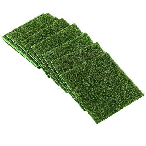 Wifehelper 10Pcs Artificial Grass Mat Turf Lawn Garden Outdoor Indoor Micro Landscape Ornament Home Decor