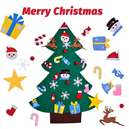 ROOYA BABY Kinder Filz Weihnachtsbaum Dekorationen 33 inch DIY Tannenbaum Filz Geschenke mit 24 Stücken Ornamenten Büro Wand Tür Zuhause hängende Dekorationen für Weihnachten Neujahr Party