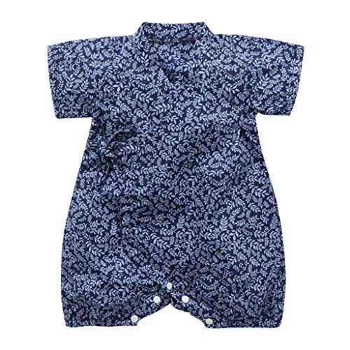 YWLINK Verano Mezcla De AlgodóN BebéS Mono Retro Encaje Estilo JaponéS Albornoz Ropa Plegable Kimono Onesies Traje De Rastreo CóModo FáCil De Poner Y Quitar (Azul,9-12 meses/90)