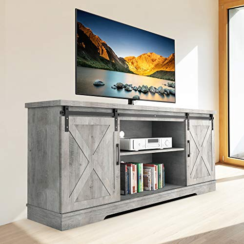 Modern Farmhouse Sliding Barn Door TV Stand, IDEALHOUSE TV Stand for 65 Inch Tv, 59 Inch Entertainment Center TV Console, Home Living Room Storage Table with Movable Shelf (Stone Grey)