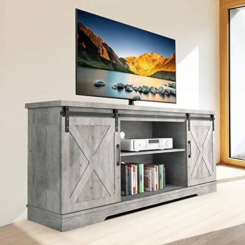 Modern Farmhouse Sliding Barn Door TV Stand, Idealhouse TV Stand for...
