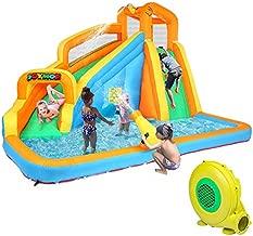 JOYMOR Inflatable Water Slide Bounce House w/ Climbing Wall, Water Gun, Splash Pool, Water Slide Castle Outdoor Playhouse for Little Kids (Included Blower)