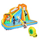 JOYMOR Inflatable Water Slide Bounce House w/ Climbing Wall, Water Gun, Splash Pool, Water Slide Castle Outdoor Playhouse for Little Kids (Included Blower)