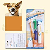 Ashley GAO Juego de pasta de dientes para mascotas, cepillo de dientes suave para perros, cuidado bucal, gatos, perros, cepillo de dientes, pasta de dientes