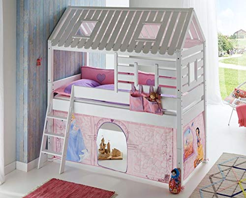Froschkönig24 Hochbett Tom´s Hütte 2 Kinderbett Spielbett Bett Weiß Stoffset Cinderella, Matratze:mit