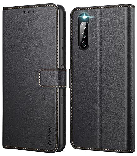 Ganbary Handyhülle für Sony Xperia 10 III Hülle, Premium Leder Tasche Flipcase [Kartenschlitzen] [Magnetverschluss] [Standfunktion] kompatibel mit Sony Xperia 10 III Schutzhülle, Schwarz