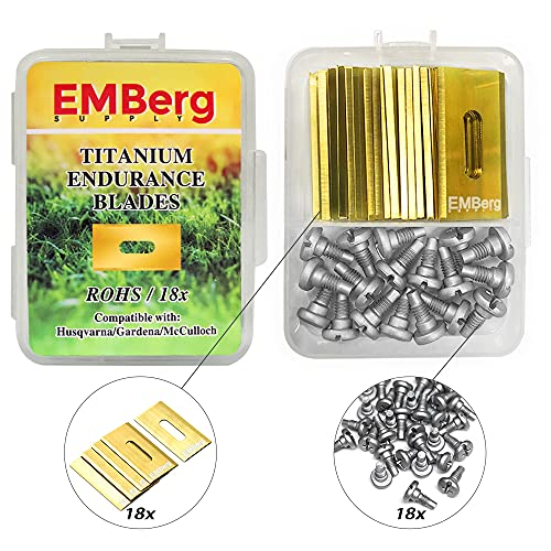EMBerg Endurance Blades (18 Pack) for Husqvarna Automower Gardena Mcculloch Robotic Lawnmower Mowing Lawn Mower Robo Robot Accessories Replacement Blade for 315 430 435 450 and many others. (Titanium)