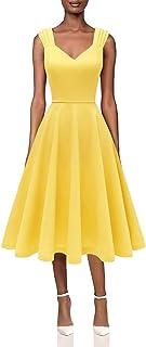 DRESSTELLS Damen Sommerkleid V-Ausschnitt Cocktailkleid 1950er Retro Kleid Partykleid Midilang