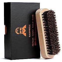 GAINWELL BARTBÜRSTE MIT NATUR-WILDSCHWEINBORSTEN, 100% Naturborsten mit solidem Holzgriff, Bartpflege