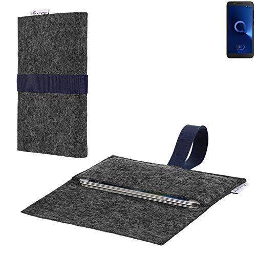 flat.design vegane Handy Hülle Aveiro für Alcatel 1C Dual SIM passgenaue Filz Tasche Case Sleeve Made in Germany