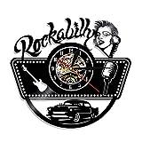 wszhh Vintage Car Guitar 80s Retro Gramófono Disco Reloj de Pared Country Rock Álbum Disco de Vinilo Reloj de Pared Música Obra de Arte-Sin LED