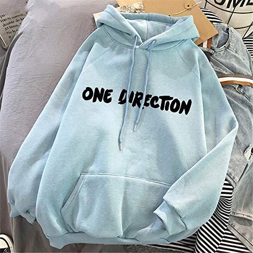 N-N Hoodie Damen Harry Styles Grafik One Direction Merch Ästhetischer Pullover Hoodie Sweatshirt Kleidung Herbst -Blau-Z59_M