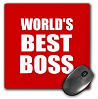 Worlds Best boss.ホワイトテキストon red. Great Design for Greatest Boss–マウスパッド、8× 8インチ(MP 194444_ 1)
