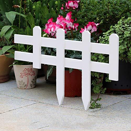 WXQIANG Pflanzen Borders Landschaftspfad Panels, Packung 4 x Holz Picket Gras Rasen Blumenbeete Dekorative Zäune, 20x60cm, Weiss