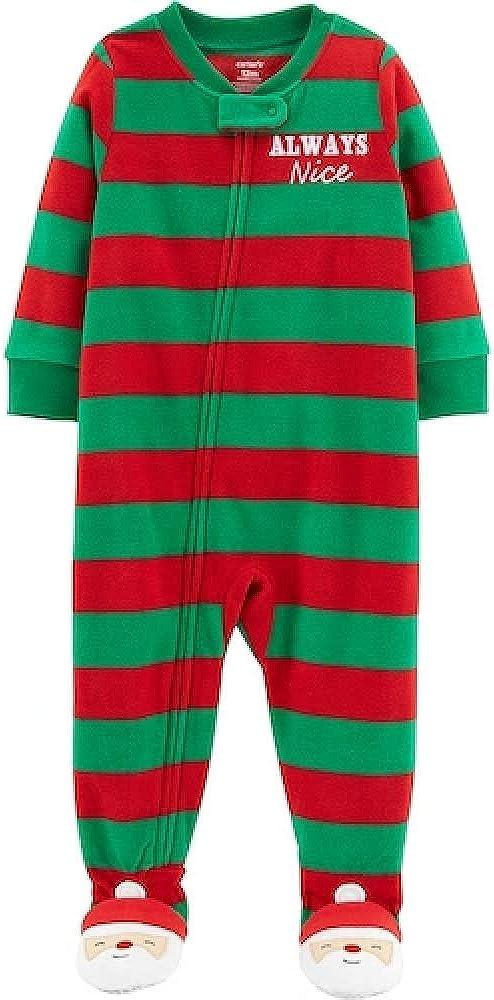 Carter's Always Nice Microfleece Blanket Footed Sleeper- Stripe- Size 5 Green/Red