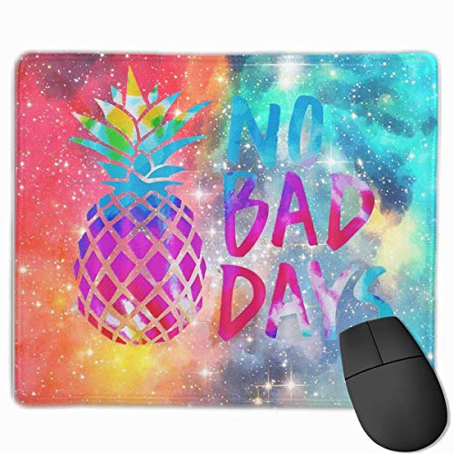 Watercolor Pineapple NO Bad Days Customized Rectangle Non-Slip Rubber Mousepad Gaming Laptop Mouse Pad Mousepad Anti-Slip Mouse Pad Mat Mice Mousepad Desktop Mouse Pad 9.8 Inch X11.8Inch