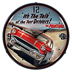 Pontiac 1956It's The Talk of The Test Drivers! LED Wall Clock, Retro/Vintage, Lighted, 14 inch